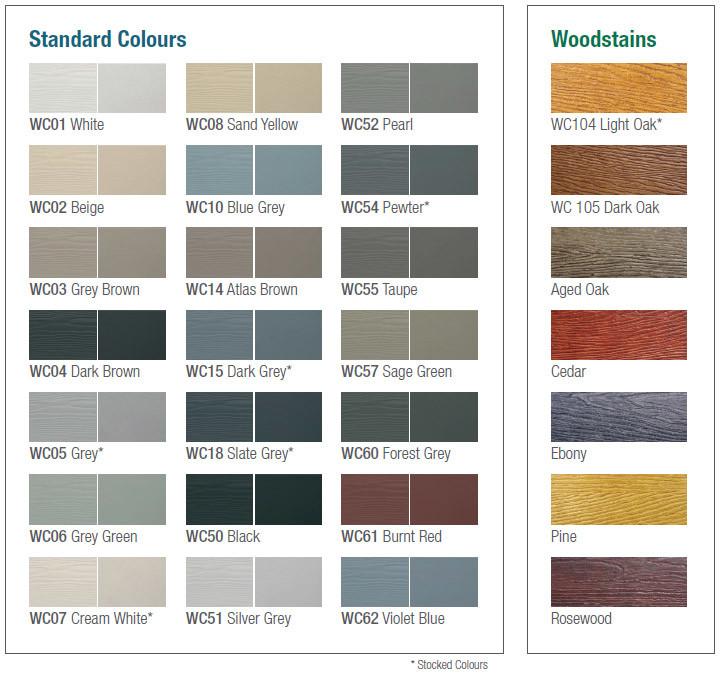 WeatherClad Colour Chart